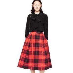 Kate Spade red plaid midi skirt